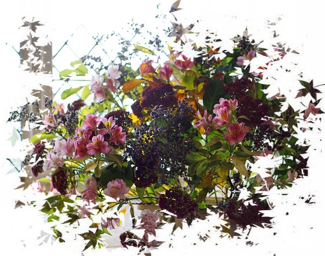 flowers by the church window, Iken