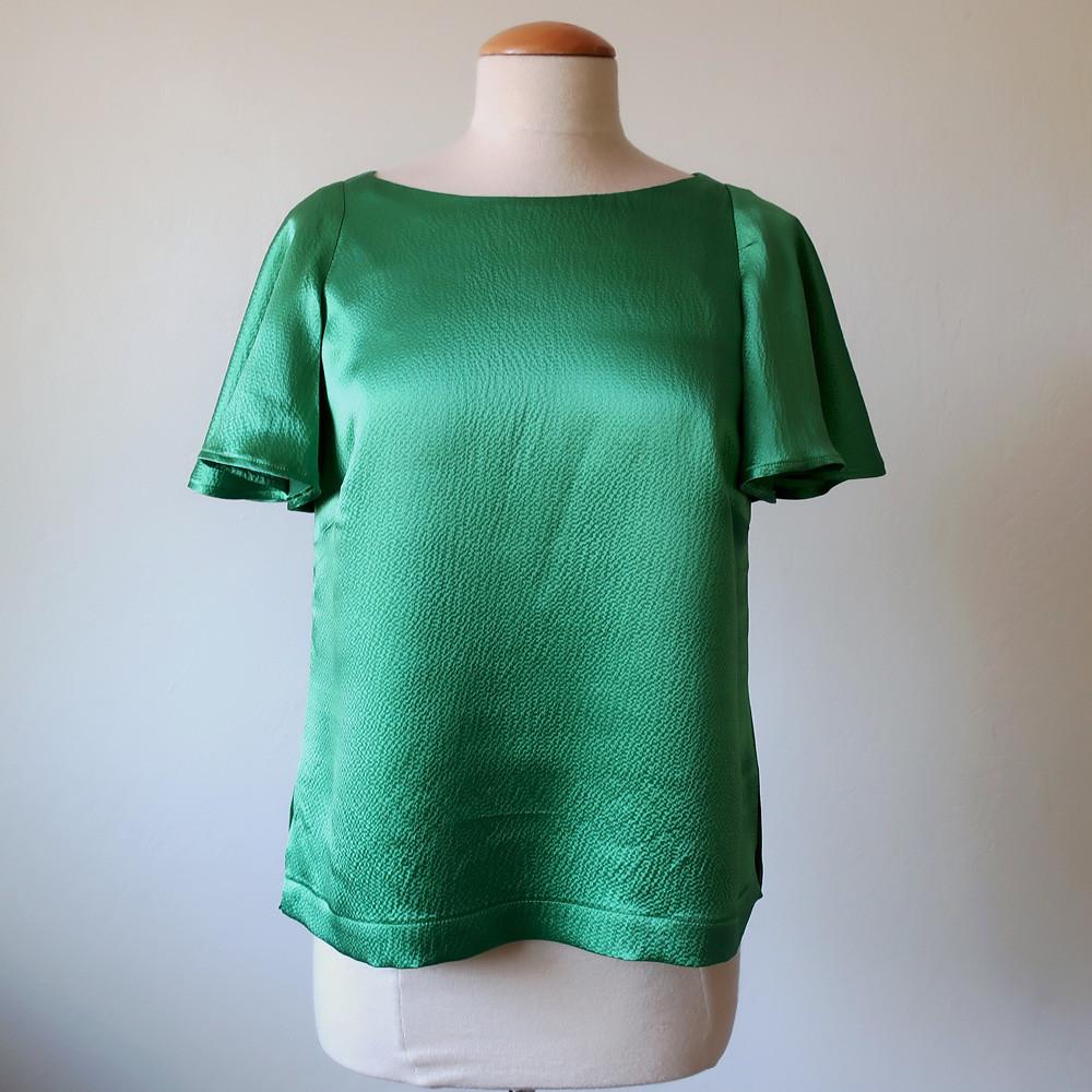 Green silk top front