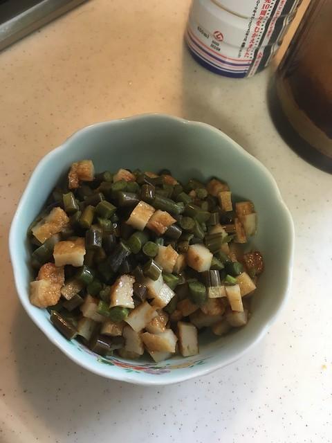 ワラビとヒラ天の炒飯
