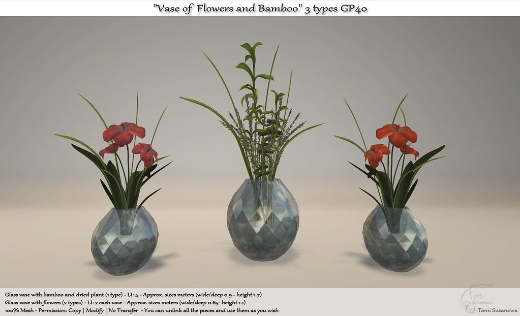 .:Tm:.Creation Vases of Flowers and Bamboo 3 types GP40