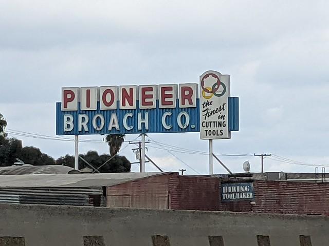 Pioneer Broach Co sign, Highway 5, Orange County, California, USA