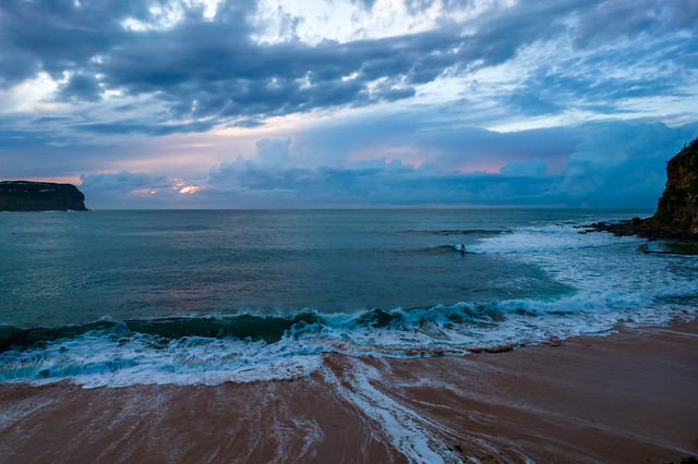 Cloudy seascape from above