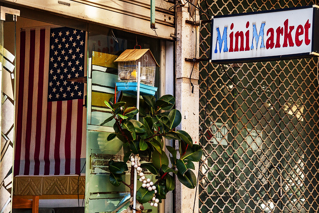 Eatery and mini market with American flag on 5-16-21--Fier