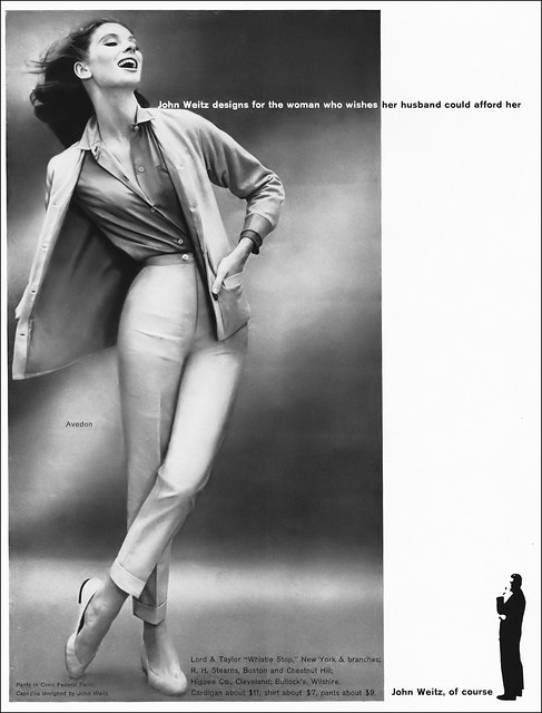 Suzy Parker in pants, shirt and cardigan from John Weitz, shoes by Capezio, photo by Richard Avedon, Vogue, February 1, 1957