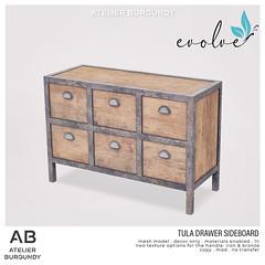 Atelier Burgundy . Tula Drawer Sideboard Evolve