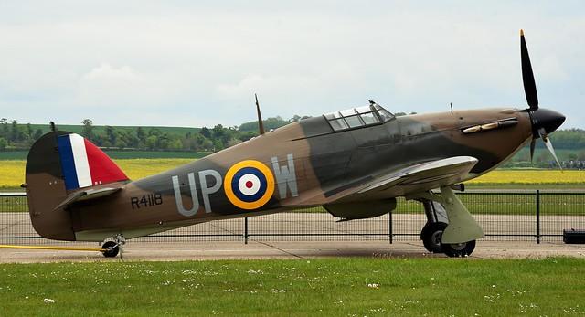 RAF Hawker Hurricane Mk-1 R4118 G-HUPW UP-W 605 Squadron & RAF Supermarine Spitfire two-seater T.9 trainer version MkIX PV202 G-CCCA 5R-H No 33 Squadron