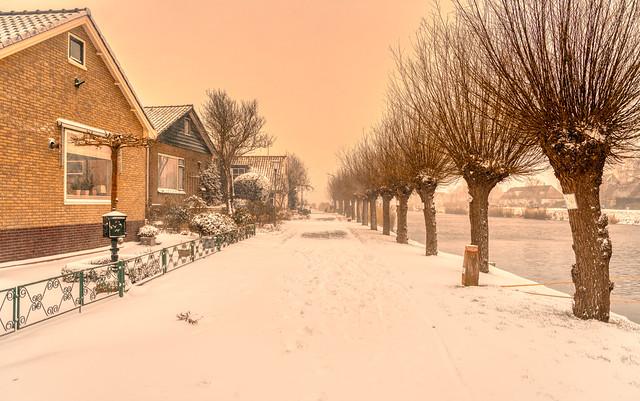 Snowy Schoorldam, Holland.