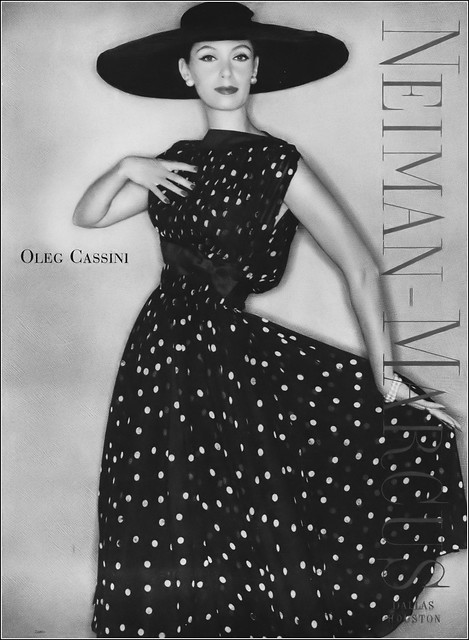 Barbara Mullen in beautiful dotted silk dress by Oleg Cassini for Neiman Marcus, photo by Clifford Coffin, Vogue, February 1, 1957