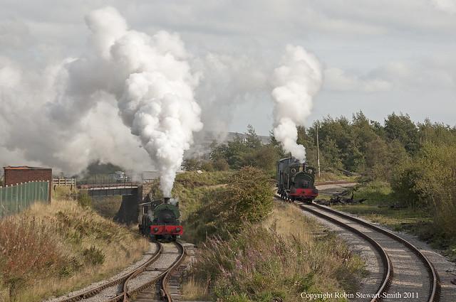 Pontypool & Blaenavon Railway - Peckett 'Whitehead' No 1163 & 'Sir Gomer' on the Big Pit Branch near Furnace Sidings Blaenavon on 23rd September2 011