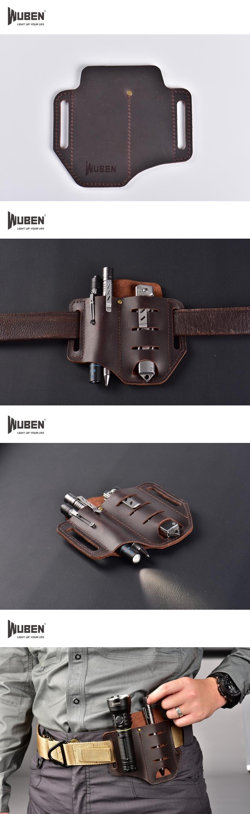 WUBEN HG6BR 質感皮革 男人的配件 工具袋 瘋馬皮 EDC手電筒 工具鉗 腰帶皮套 工具皮套