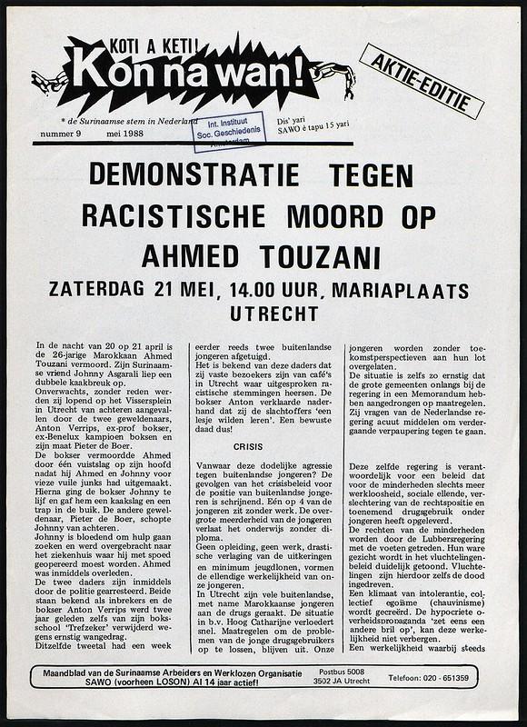 mei 88 demo tegen racistische moord