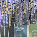 Brightly coloured new apartment development in Preston