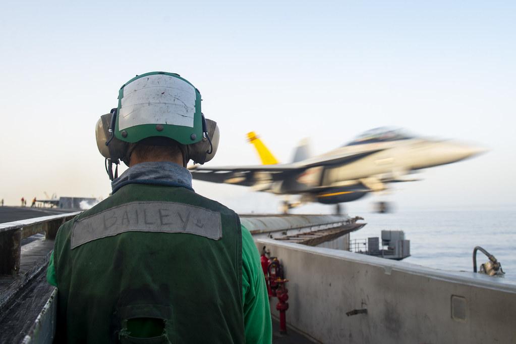 USS Dwight D. Eisenhower (CVN 69) conducts flight operations in the Arabian Sea.