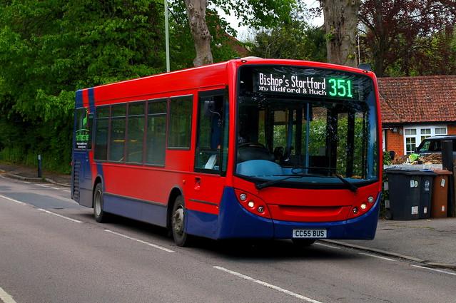Identity Swap: Trustybus (ex Arriva London ENL38) ADL Enviro200 10.2m CC55BUS (formerly LJ09KRE) Hadham Road Bishops Stortford 17/05/21