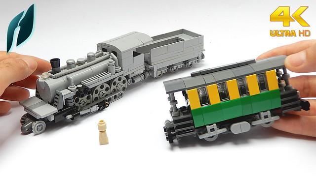 Lego 2-6-0 Steam Locomotive with Railroad Car (MOC)