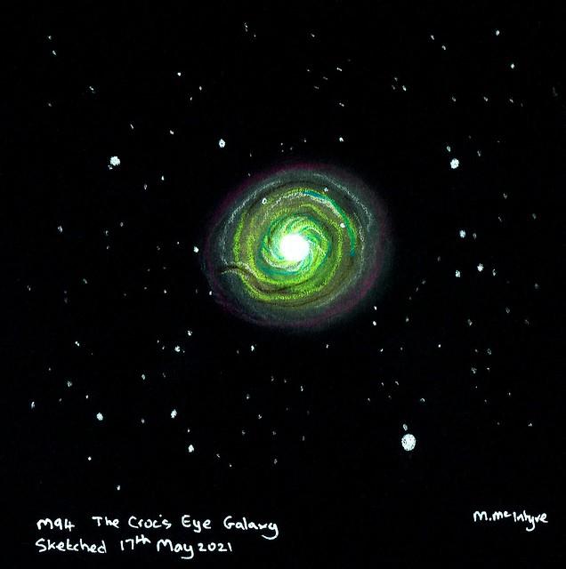 Messier 94 the Croc's Eye Galaxy Pastel Sketch