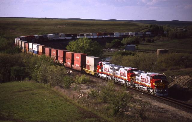 Train SCHLA1 at Matfield Green, Kansas - April 24, 1992.