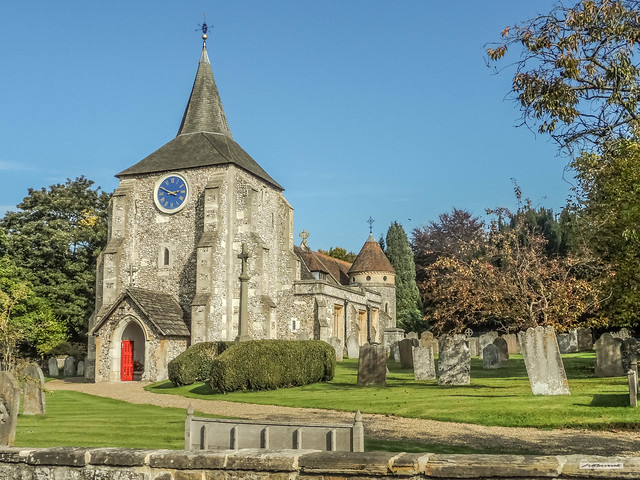 The elegant Parish Church of St. Michael and All Angels in the Mole Valley village of Mickleham, Surrey, England.