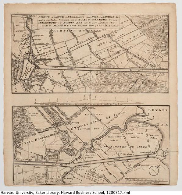 Plannen van de constructie van de Eemvaart in 1720. Grote Tafereel der Dwaasheid, Aaltje Fredericks Ottens, 1720 (Curiosity Collections, Harvard University).