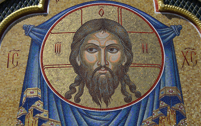 Russian Federation, Holy Moscow Architecture, the Mosaic of Jesus Christ Pantocrator in the facade of Cathedral Church of Saint Igor of Chernigov in Peredelkino, 7th Lazenki Street, New Moscow, Novo-Peredelkino district. Православнаѧ Црковь.