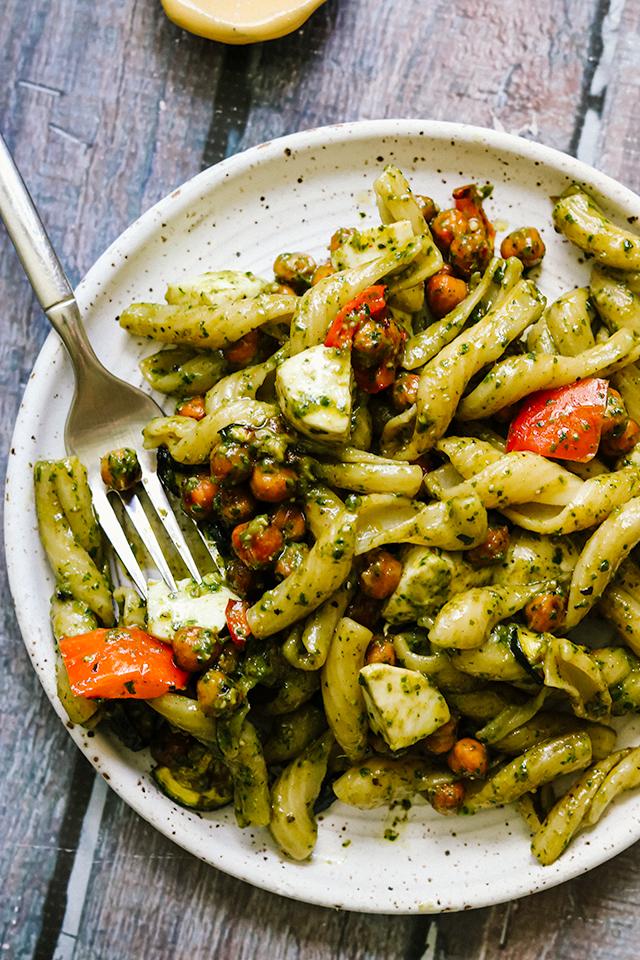 Pesto Pasta Salad with Mozzarella, Roasted Vegetables, and Crispy Roasted Chickpeas