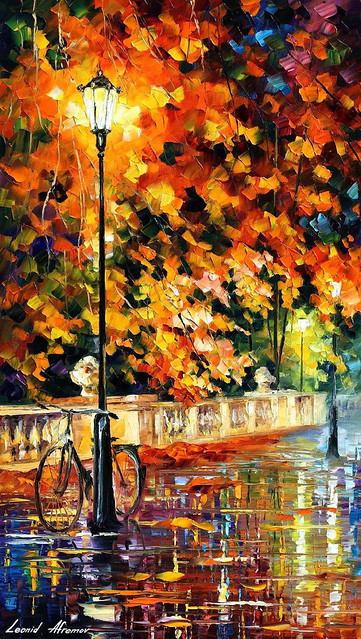 LONELY BICYCLE — PALETTE KNIFE Oil Painting On Canvas By Leonid Afremov