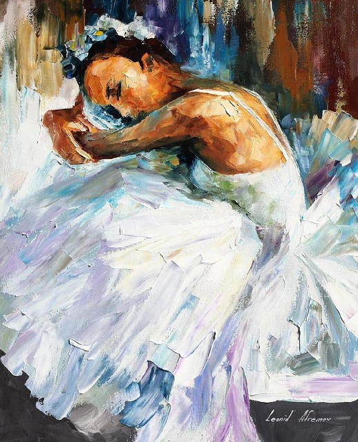 BALLERINA WHITE SWAN — PALETTE KNIFE Oil Painting On Canvas By Leonid Afremov