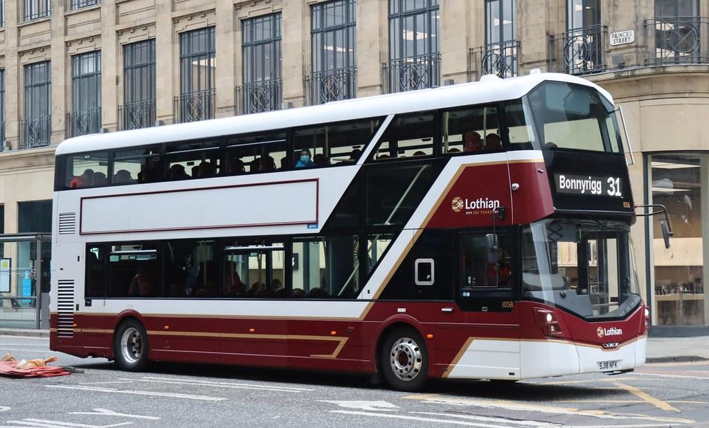 Lothian Buses, Edinburgh 1058 SJ18NFK working a 31 service for Bonnyrigg on Princes St in the City Centre.