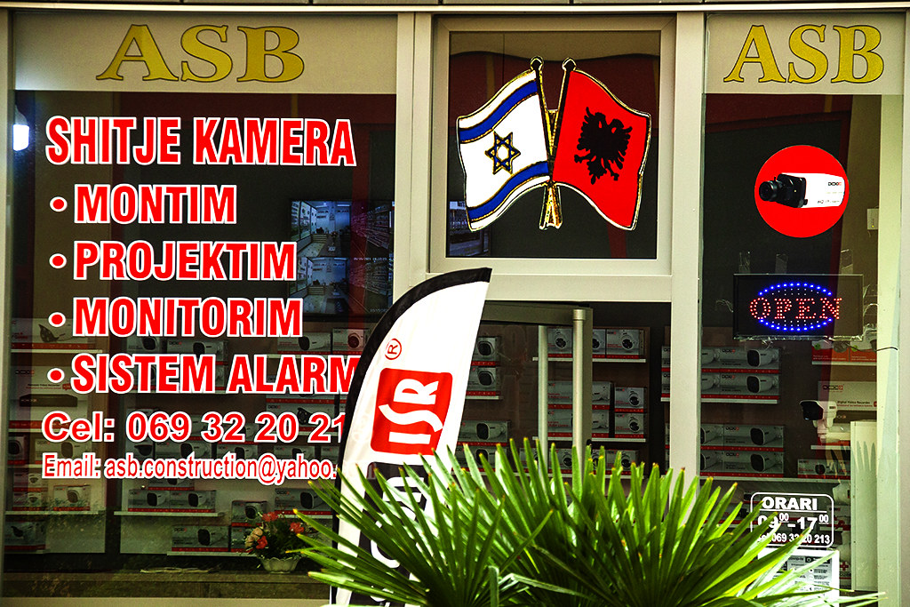 Israeli and Albanian flags at ASB Security Camera store on 5-15-21--Fier