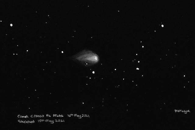 Comet C/2020 R4 ATLAS Pencil Sketch (Inverted)