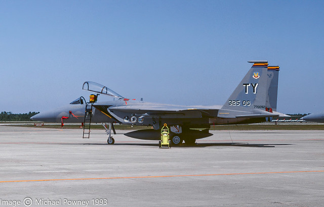 77-0092 - 1977 fiscal McDonnell Douglas F-15A Eagle, displaying special marks on the flightline at Tyndall AFB in 1993