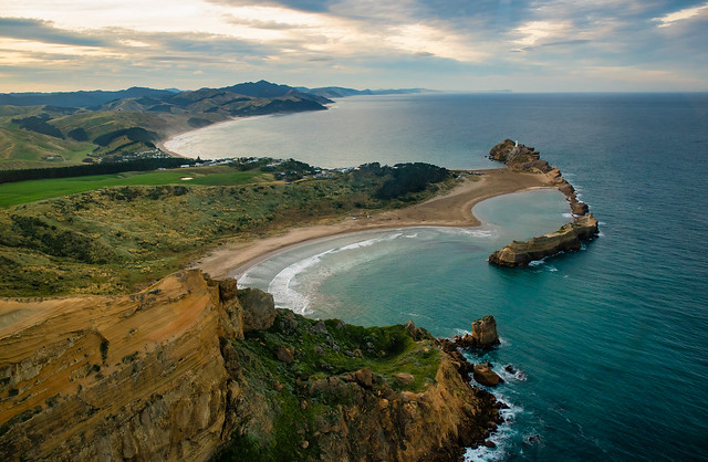 Castlepoint Wairarapa rugged coastline and rock formations from the sky