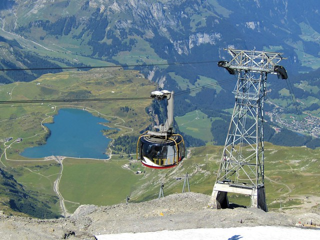 The first revolving gondola in the world located at Mount Titlis in Engelberg, Switzerland.