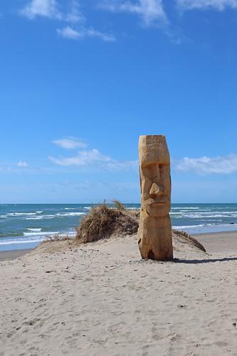 Wooden head, Barmouth beach