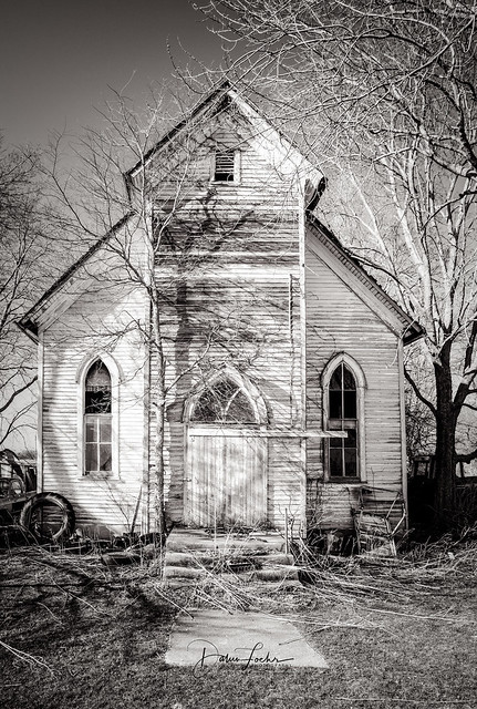 Lonely old church in rural Illinois