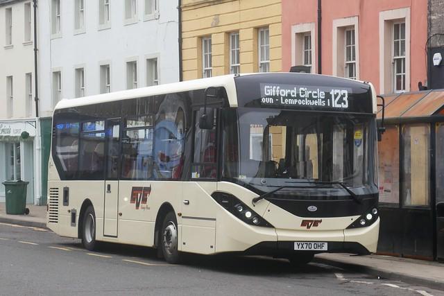 Eve Coaches of Dunbar AD E20D Alexander Dennis Enviro 200MMC YX70OHF operating service 123 Gifford Circle at High Street, Haddington, on 14 May 2021.