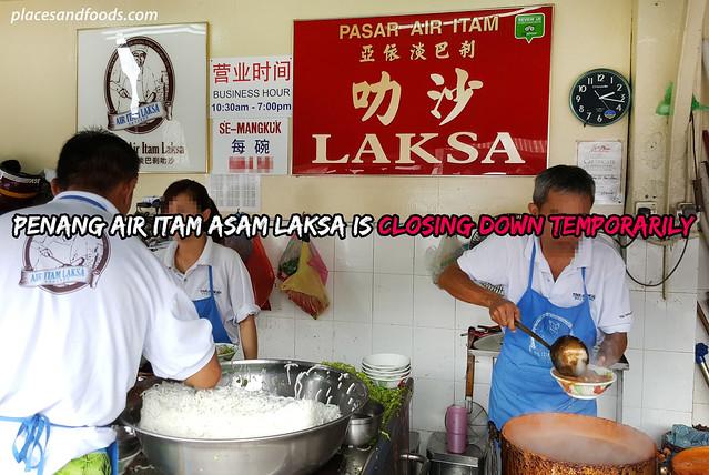 penang air itam asam laksa closing down temporarily