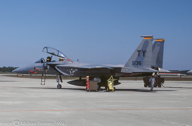 76-0136 - 1977 fiscal McDonnell Douglas F-15B Eagle, airframe now in instructional use at Sheppard AFB, TX