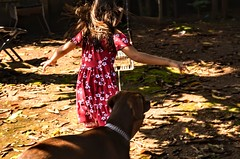 Child and the dog.