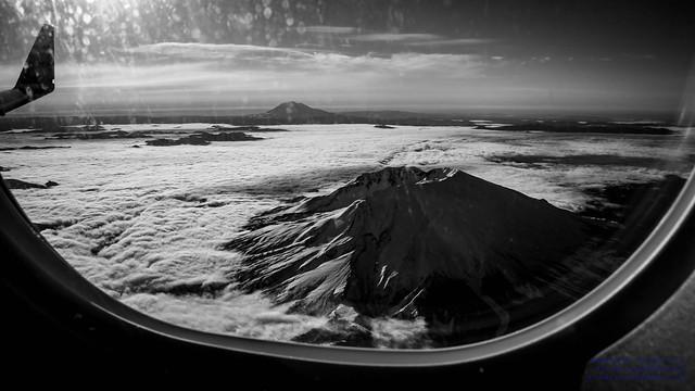B&W of Mt. St. Helens, EMB-175 Winglet and Mt. Adams