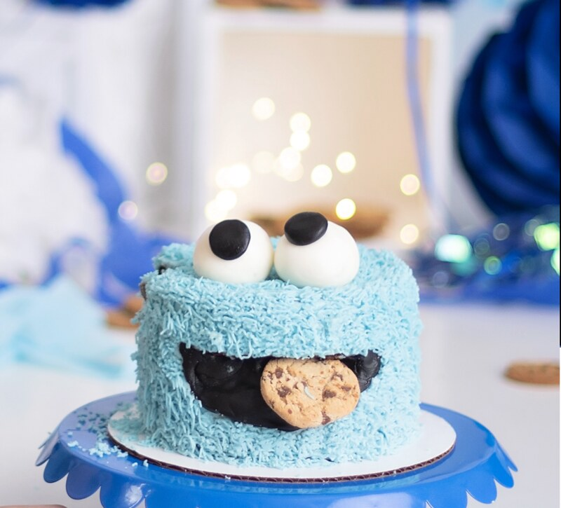 Cookie Monster Smash Cake by Cupcakery Tres Leches