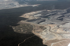 Maules Creek mine, seen here in December 2020, showing how the Whitehaven mine is eating the heart out of the Leard State Forest. [NWPA]