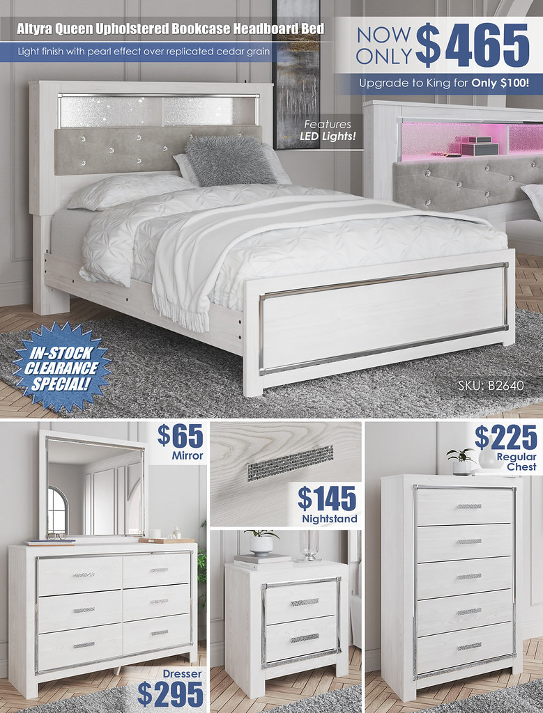Altyra Queen Upholstered Bookcase Headboard Bed_B2640
