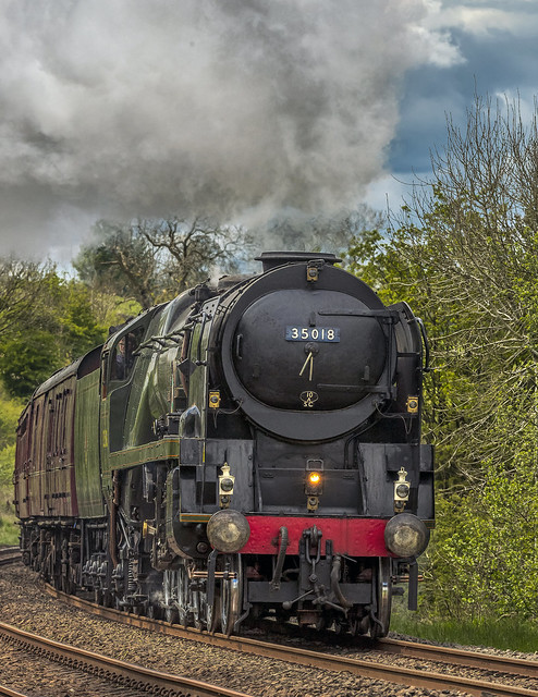 The Pendle Dalesman hauled by British India Line 35018 steaming past Langcliffe 18 May 2021