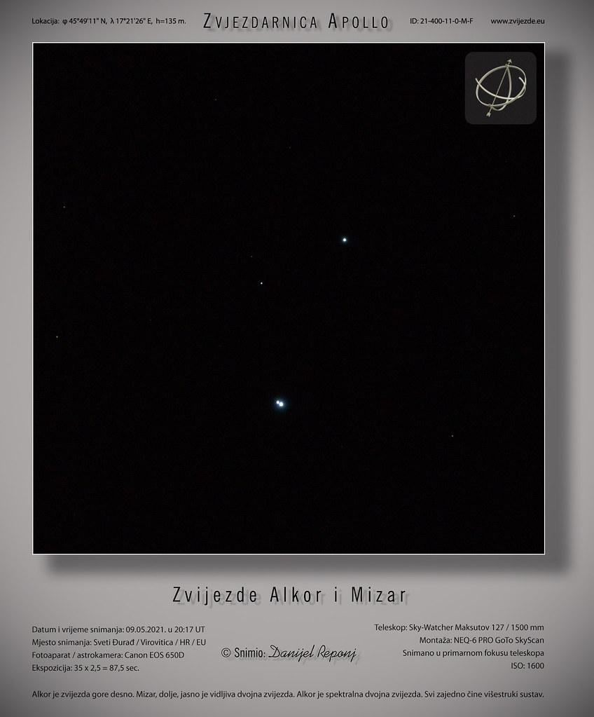 Zvijezde Alkor i Mizar, 9.5.2021.