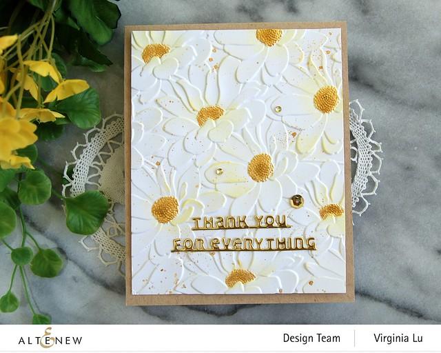 Altenew-DaisyBed 3D Embossing Folder-Slim Sentiment Die Set-Metallic Watercolor 14 Pan Set-002