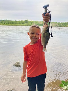 Connor Meier got to go fishing with his dad at the mouth of Deer Creek and enjoyed the white perch action. Photo by Adam Meier
