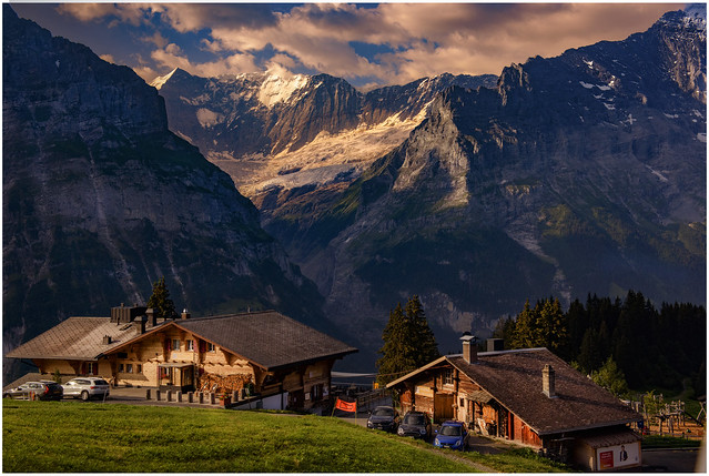 Sun is rising on Grindelwald, Canton of Bern Switzerland. No. 45.