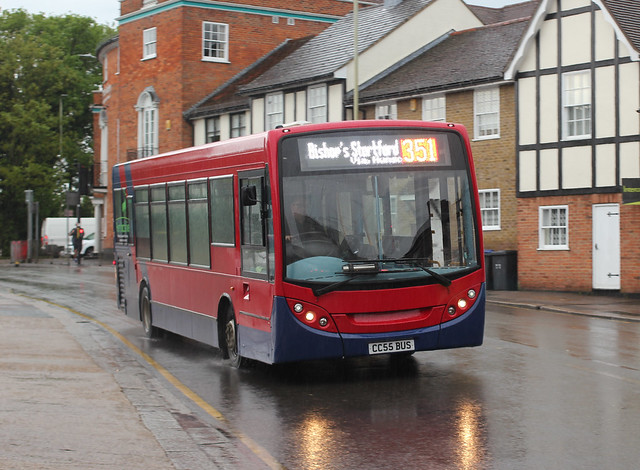 Trustybus  / Galleon Travel ( 2009 ) Ltd . CC55BUS ( ex LJ09KRE ) . Dane Street , Bishop's Stortford , Hertfordshire . Wednesday evening , 19th-May-2021.