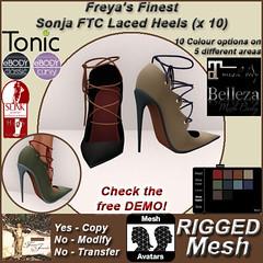 FFJ FTC Sonja Laced Heels Shoes RIGGED TEX